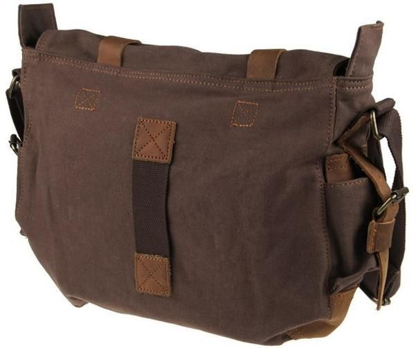 a74408b113 Old School 14   Brown Leather and Canvas Messenger Bag for School ...