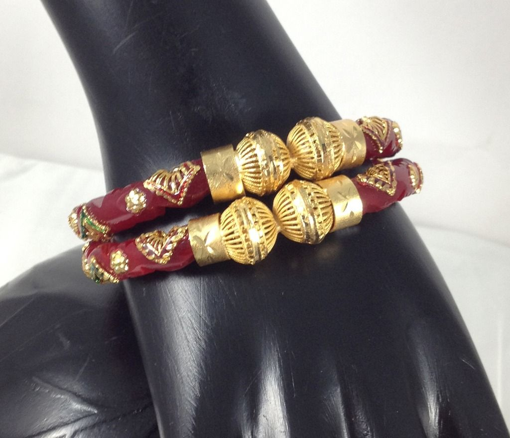 Pola Red Bridal Jewelry Gold Plated Bracelets Bangles Meenakari ...