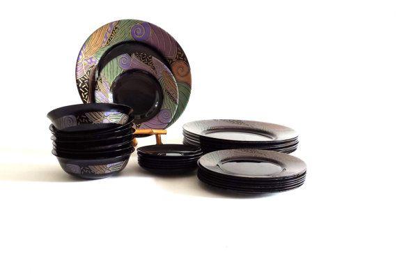 Arcoroc Tampico Dinnerware Set Black Purple Bronze Green by ...