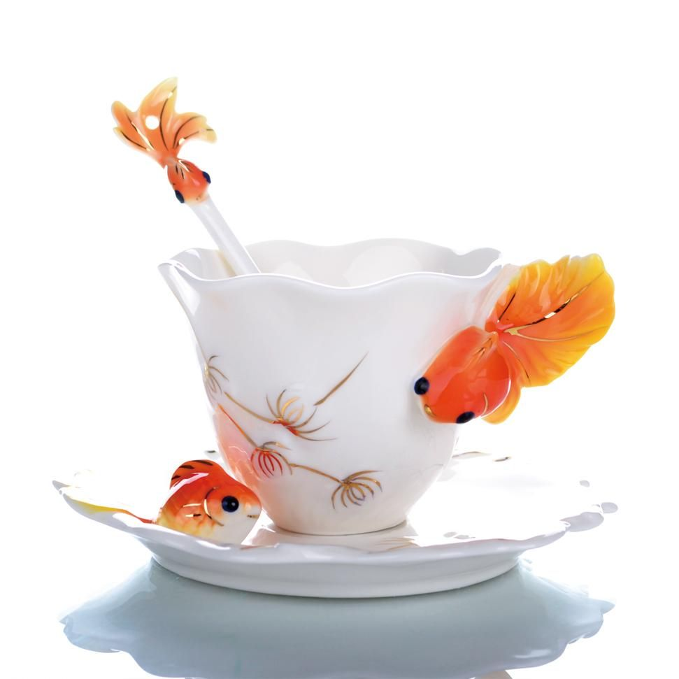 Free shipping, high quality hot creative cup, enamel porcelain coffee cup goldfish, Chinese ceramic tea set painted fashion