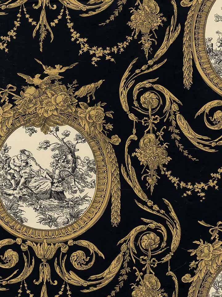 WAVERLY BLACK AND GOLD TOILE WALLPAPER A608A3 5505963