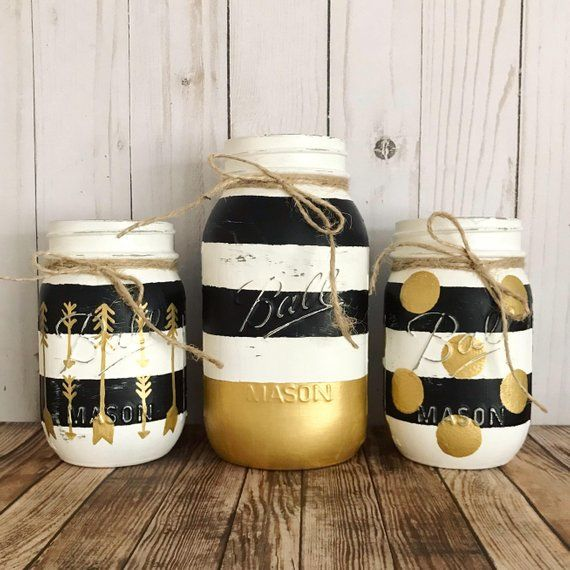 Black white and gold Mason Jar, black and white stripes, gold polka dots, Rustic home decor