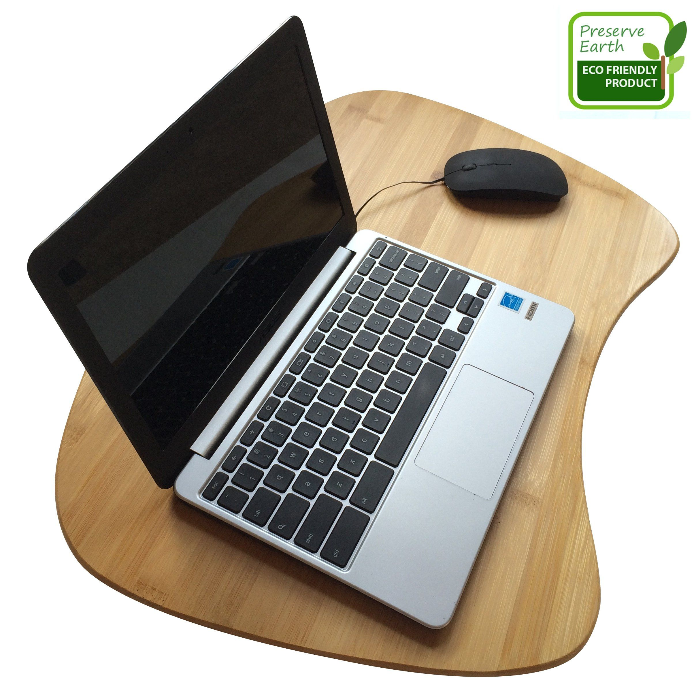 Bamboo Laptop Lap Desk Of Extra Large Size Natural Lapdesk Surface With Cushion And