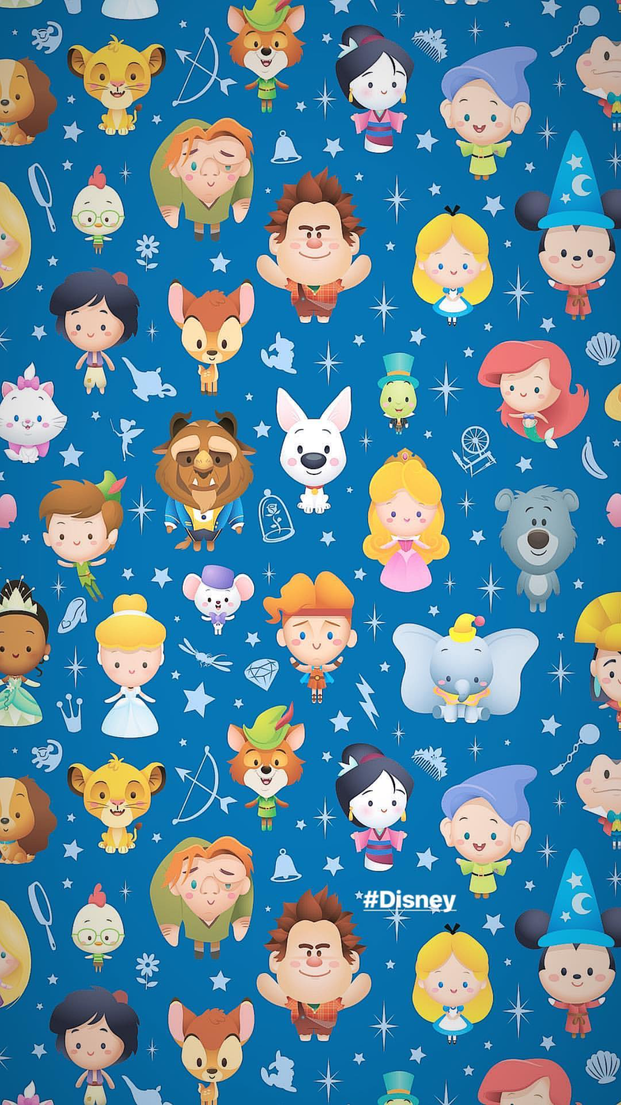 Disney characters by artist Jarrod Maruyama lock screen