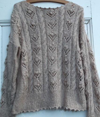 10664bb4e5d Vintage-80s-90s-women-039-s -sweater-pull-mohair-hand-knit-champignon-beige-handmade