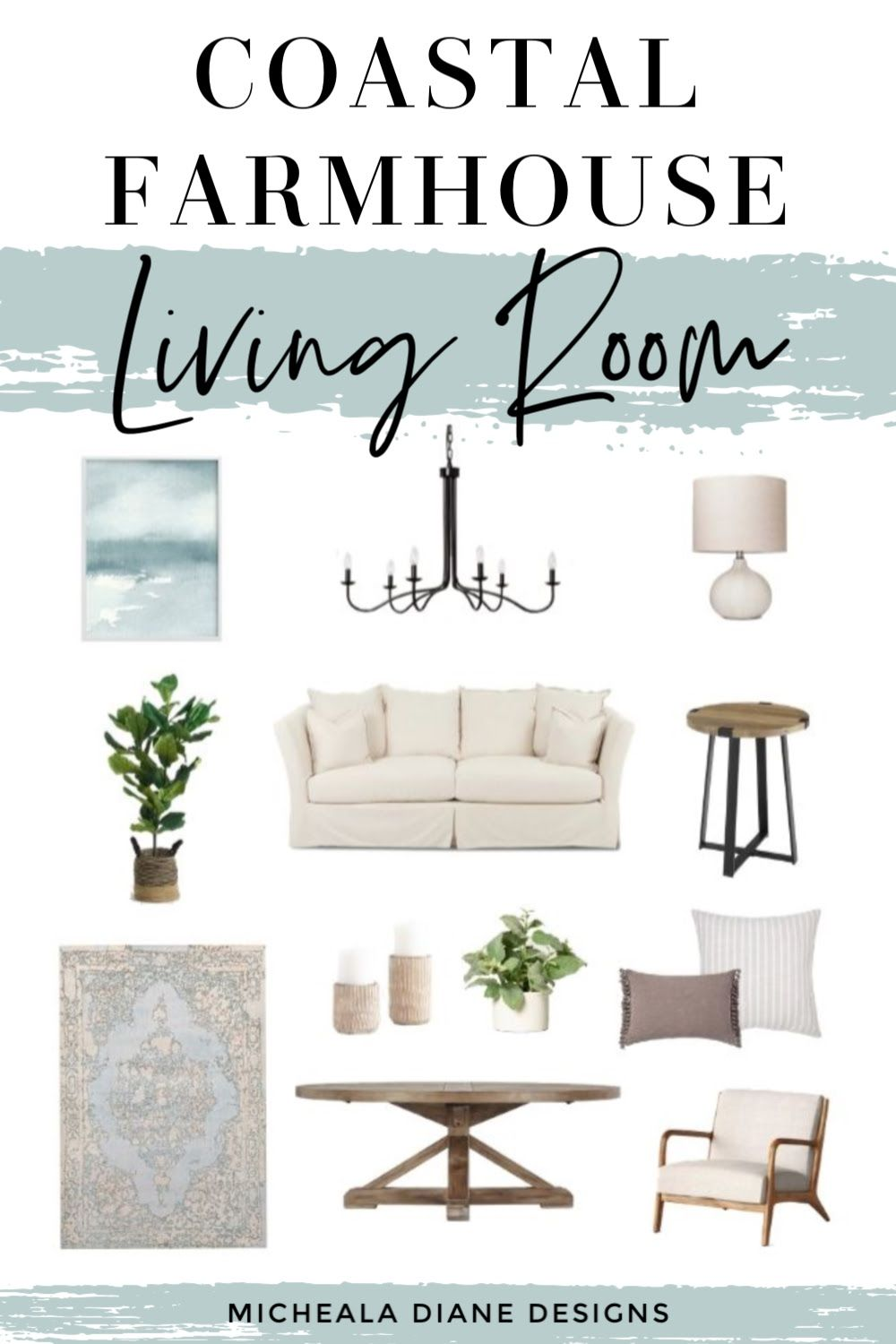 Coastal farmhouse living room decor. Living room style board with all sources linked. #coastalfarmhouse #livingroom #farmhouse
