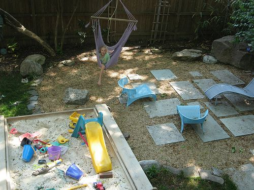 i'm currently interested in making my backyard grass free. pea ... - Kid Friendly Patio Ideas