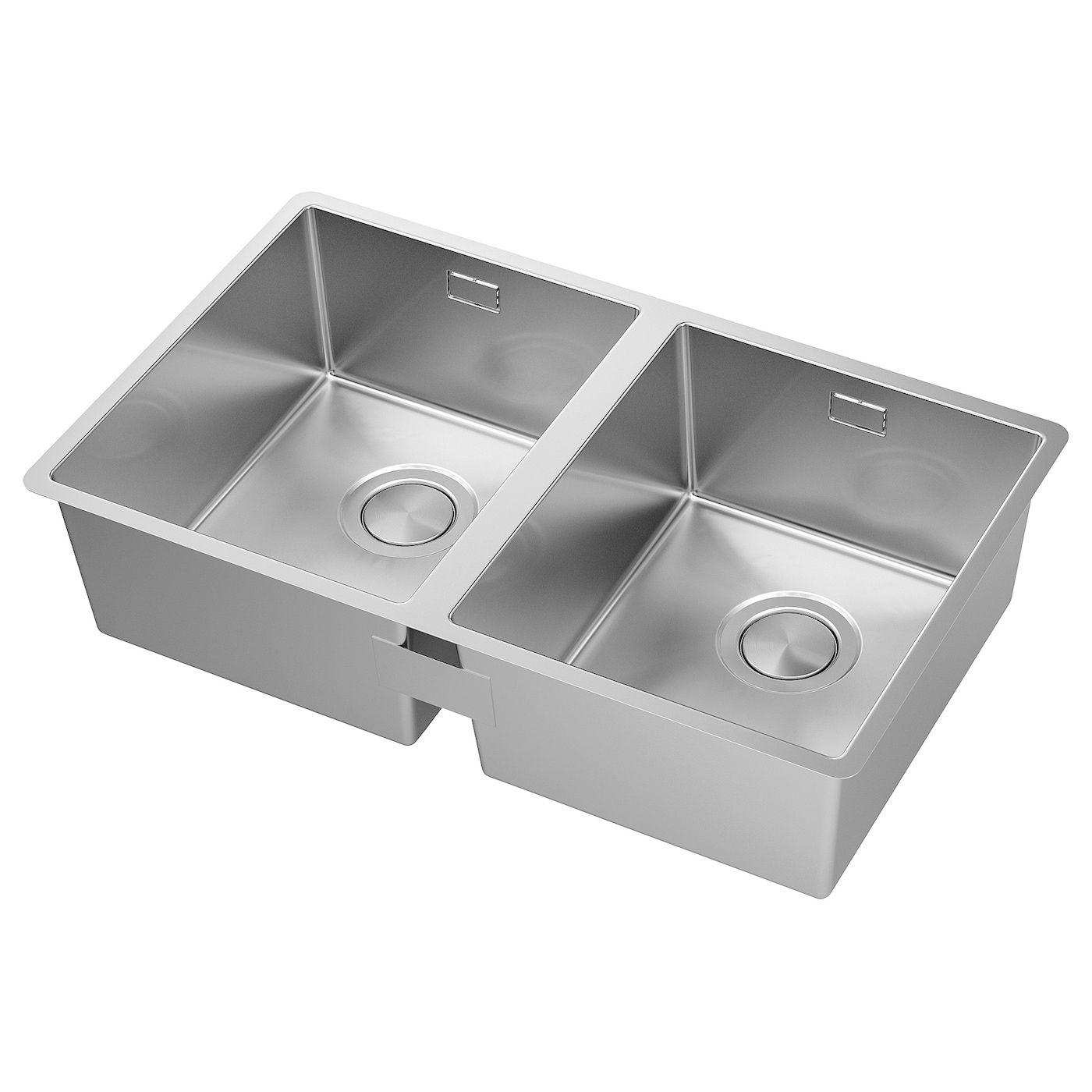 Norrsjon Inset Sink 2 Bowls Stainless Steel 73x44 Cm In 2020 Double Bowl Sink Inset Sink Bowl Sink
