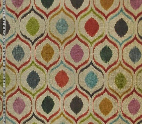 Orange Ikat Fabric Modern Retro Mid Century Graphic Design Interor