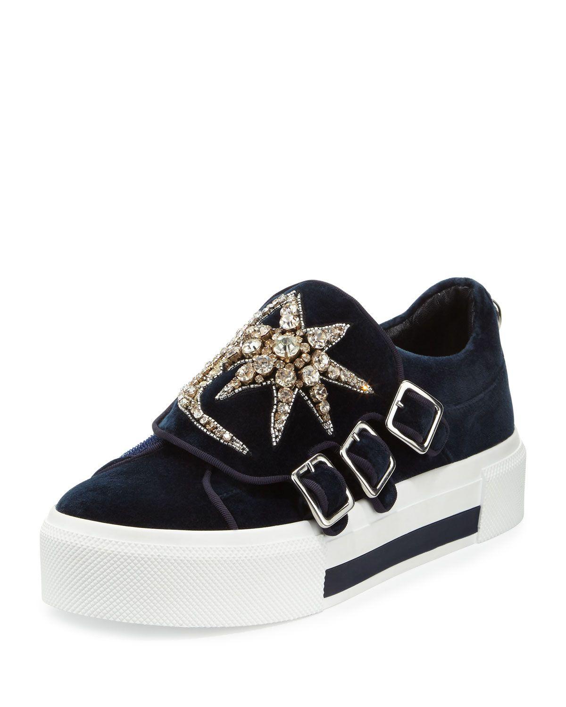 1b356727e77f Triple-Monk Velvet Sneaker w Jeweled Moon   Star, Navy Silver, Women s,  Size  5B 35EU, Nav Mul.Sil Indi - Alexander McQueen