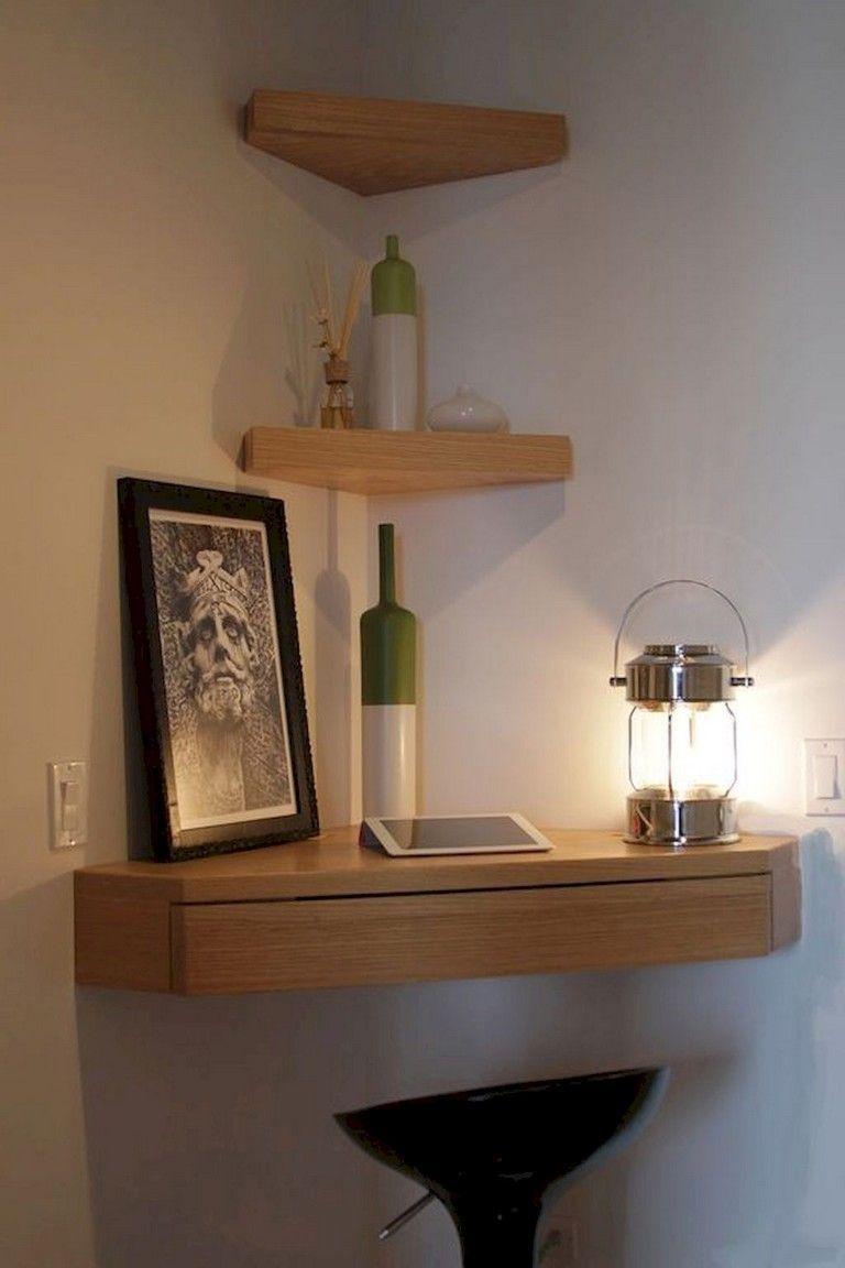 29 Amazing Corner Floating Shelves Ideas For Your Room Corner Floating Shelf With Drawer