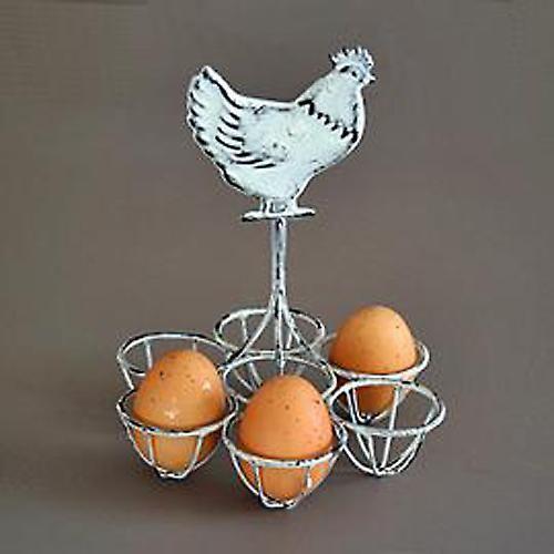 Cockerel Wire Metal Kitchen Egg Fruit Holder Grey White