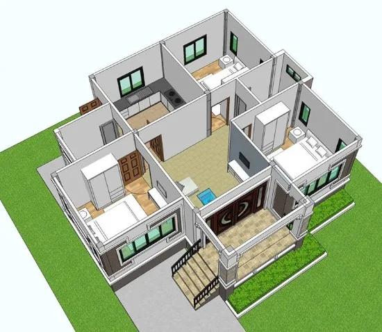 Desain Rumah Atap Limas Dengan 3 Kamar Tidur Home Fashion Rumah Desain Rumah