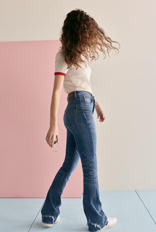 50a95f8d2 madewell rivet   thread skinny flare jeans.