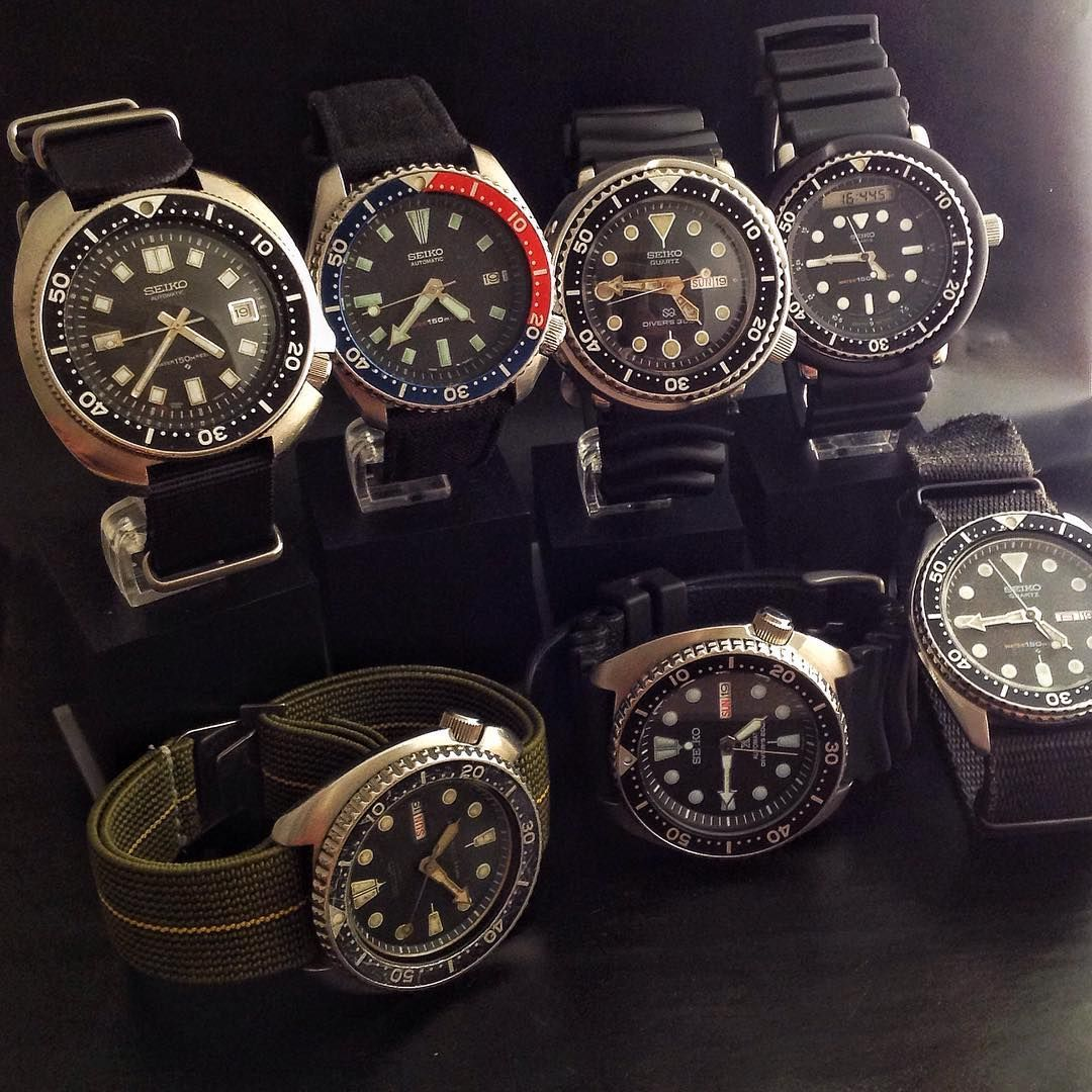 "joins82 The current Seiko madness: 6105, 7002 pepsi, 7549 Tuna , H558 ""Arnie"", 6309 turtle, Srp777 turtle, 7548. Happy #seikosunday #watchfam #seiko #seikosunday #vintageseiko #seikoholic #seikodiver #vintagediver #seiko6105 #seiko7002 #seiko7549 #seikotuna #seikoarnie #h558 #seikoh558 #seiko6309 #seikoturtle #seikosrp777 #seiko7548 #seikoquartz #seikoquartzdiver #wruw #womw #toolwatch #wornandwound #watchesofinstagram #watcheswithpatina #6105 #7548 #7549 #7002 #h558"