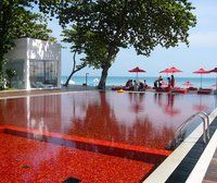 red .. never seen a pool this color. not sure if I would want to jump in or not?