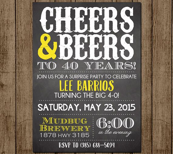 Cheers And Beers Birthday Invite, Beers And Cheers, Man