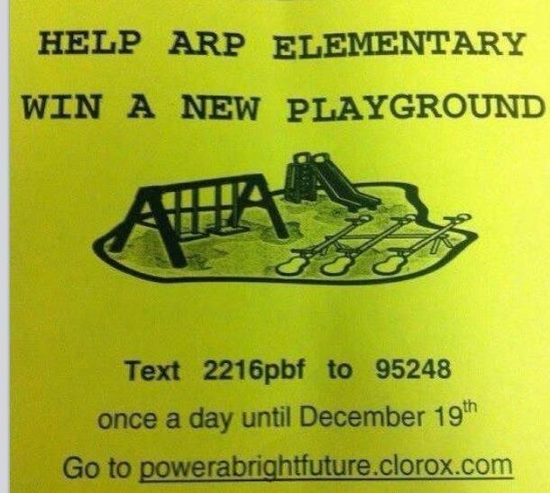Arp ISD is trying to win a playground! Help their kiddos get a new playground by sending a text everyday through the 19th of December!!