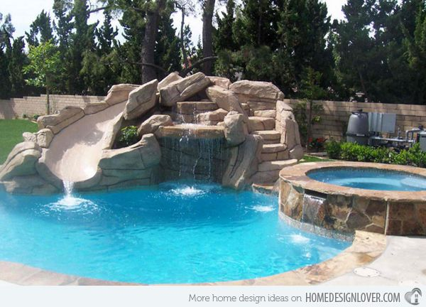 15 gorgeous swimming pool slides swimming pool slides for Pool design with slide