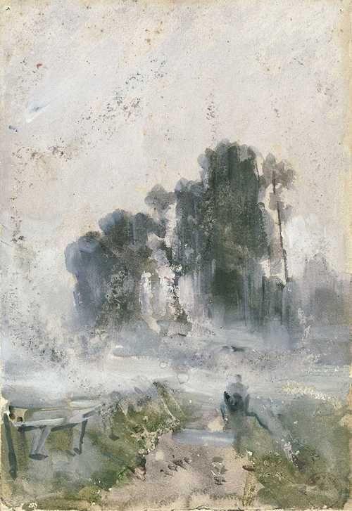 Guillaume Vogels Belg 1836 1896 Fog Aquarelle Et Gouache Sur