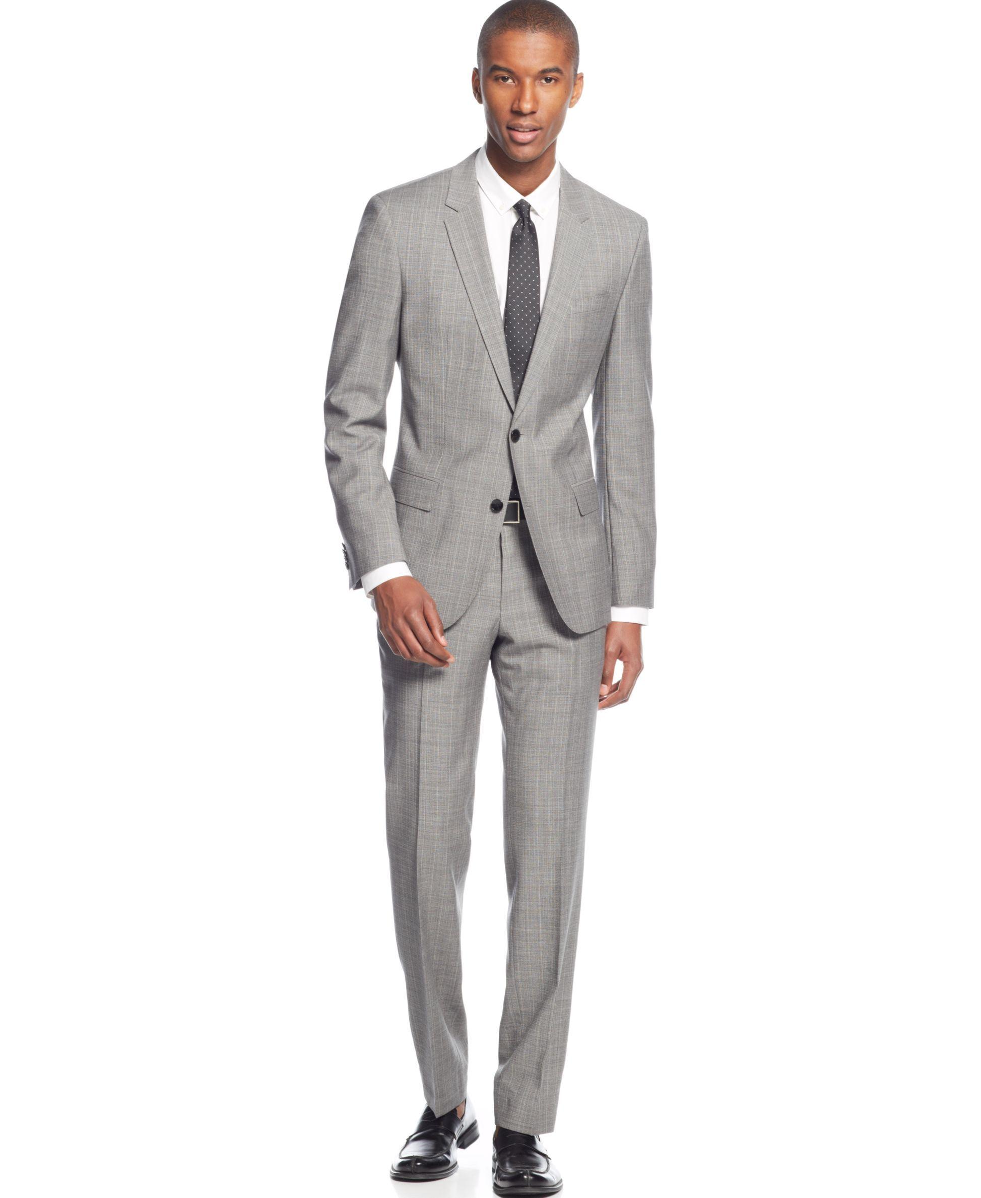 Boss Hugo Boss Light Grey Crepe Slim Fit Suit