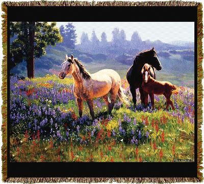 Designed by the famous artist © Clair Goldrick. This tapestry throw is a colorful and spectacular work of art. A family of horses in a field of beautiful summer flowers. Tapestry throws are 100% cotton, made in the USA. Throw blankets are machine washable and tumble dry. Coverlets can be personalized.