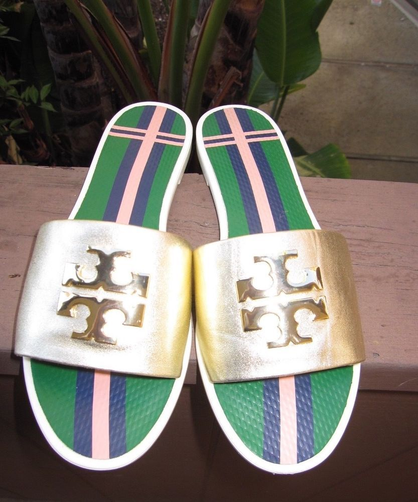 5bd83235c57 NEW Tory Burch Spark Gold Logo Jelly Slide Metallic Leather Sandals US (7)