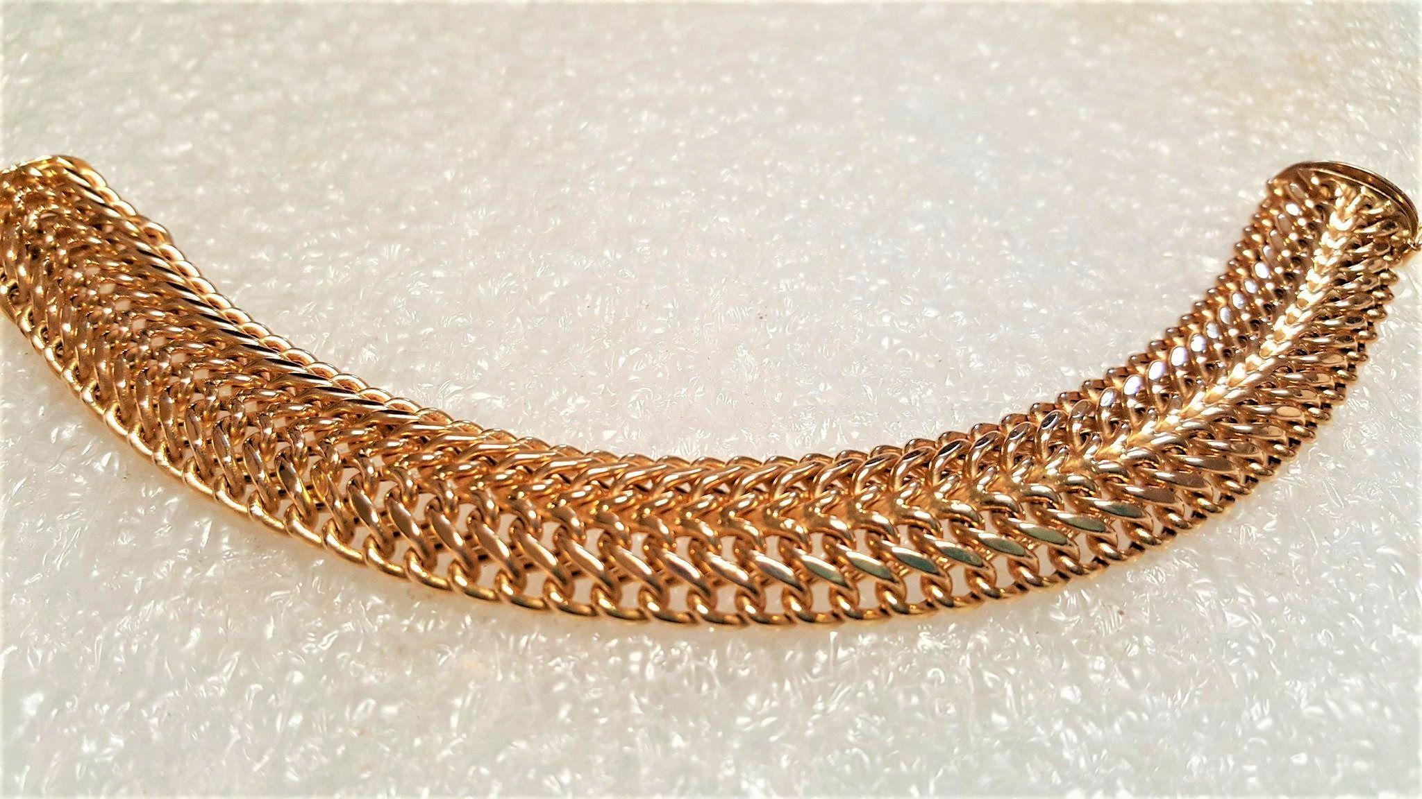54f3c2af7aeb Vintage 14k Gold Wide Wheat Bracelet - Fine B M Italy 14k Yellow Gold Woven  Bracelet - Ladies 14k Gold Fancy Wide Spiga Chain Bracelet by  GranvilleGallery ...