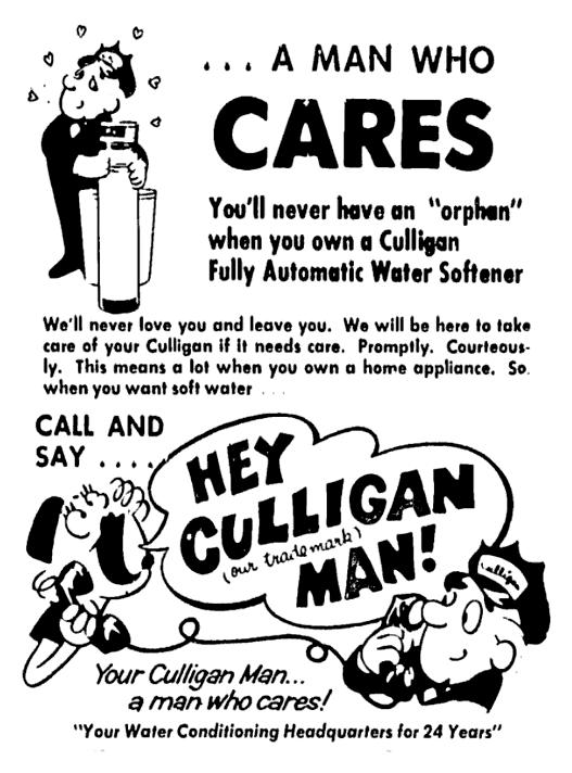 Culligan Water 1972 Culligan Water Softener Love You