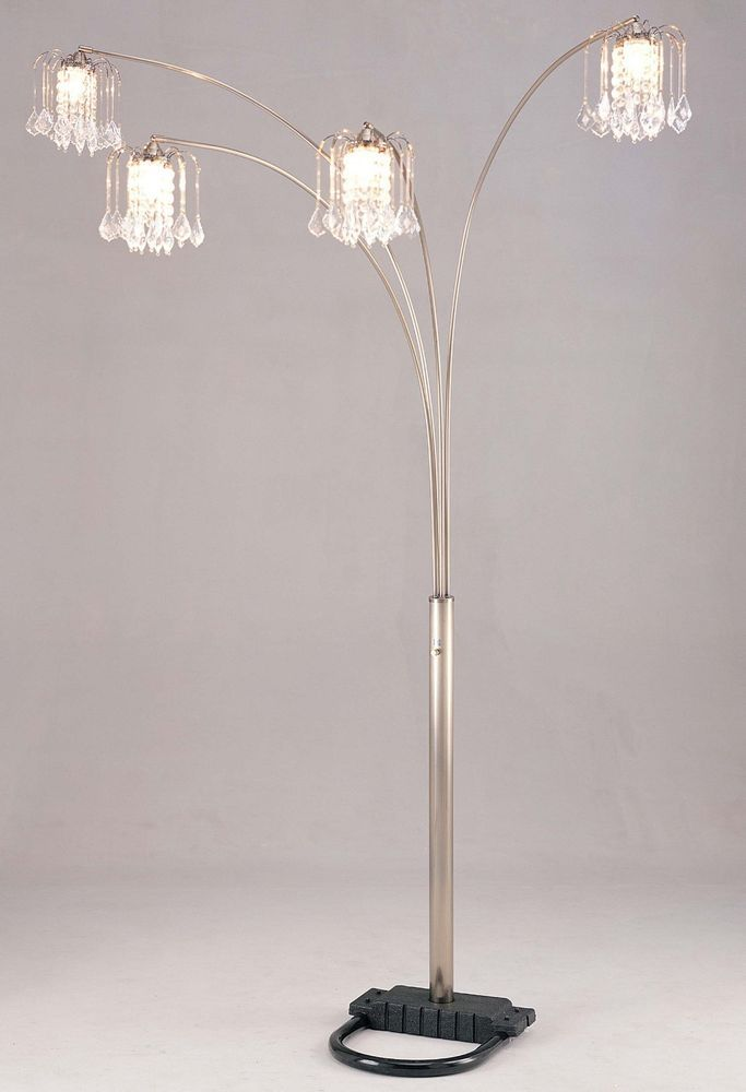 Arch Floor Lamp 84 6966ab 4 Bulb Faux Crystal Shade Antique Brass Dimmer Switch Tree Floor Lamp Lamp Floor Lamp
