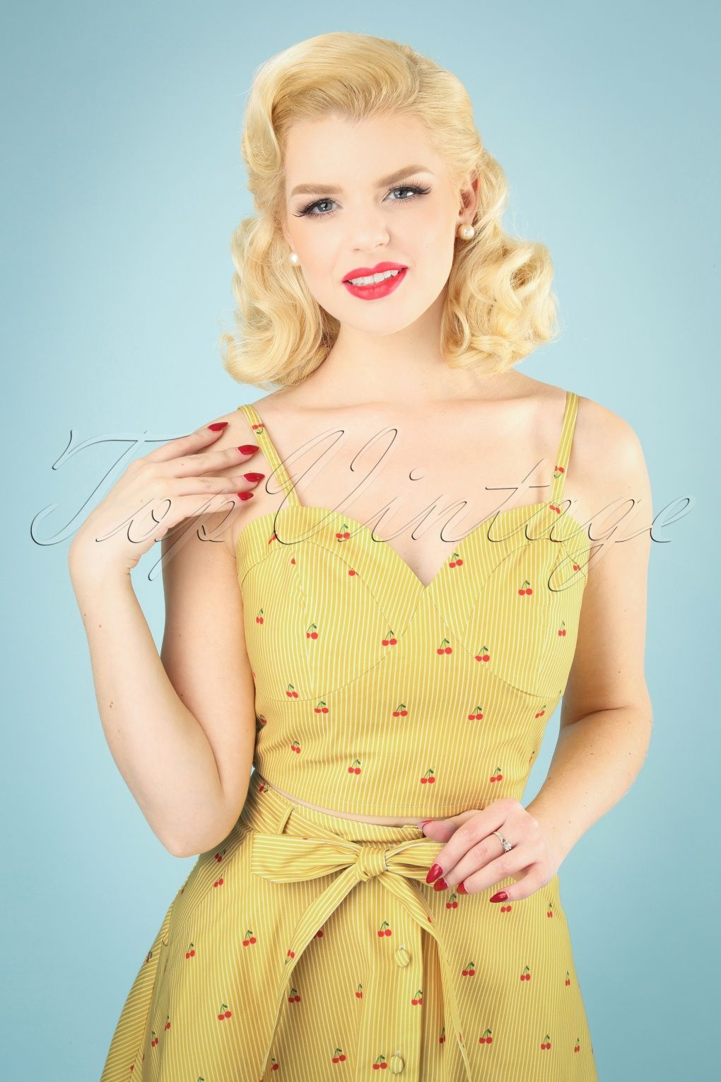 50s Natalie Top in Cherry Stripe Yellow   Crop top and
