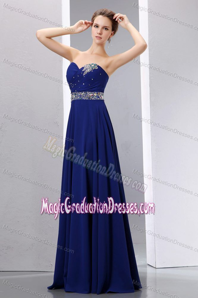 Sweetheart Beaded Royal Blue Long Graduation Dresses for High ...