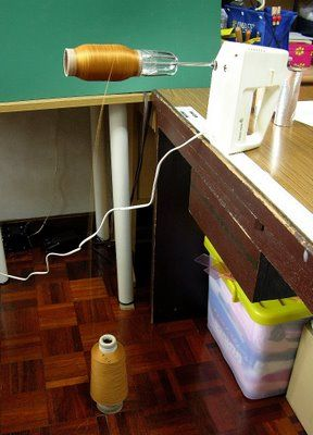 how to divide serger thread into smaller spools. Hilarious but good to know : )