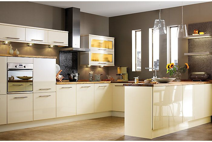 It Gloss Cream Slab  Kitchen Ranges  Kitchen  Rooms  Diy At Alluring B & Q Kitchen Design Decorating Design
