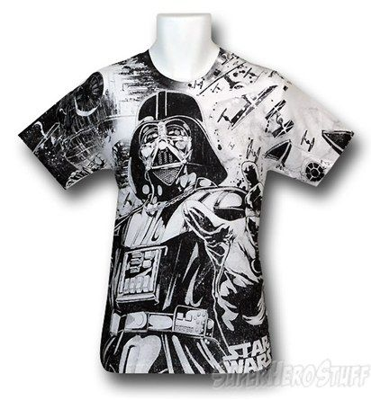 c393780b Forget about the goody-goody Jedi and take a walk on the Dark Side with the  Darth Vader All Over Print 30 Single T-Shirt, and let the Dark Lord of the  Sith