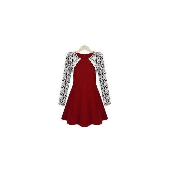 Long-Sleeve Floral Lace Panel Dress ($22) ❤ liked on Polyvore featuring dresses, women, long sleeve dress, floral printed dress, red floral dress, red floral print dress and floral print dress