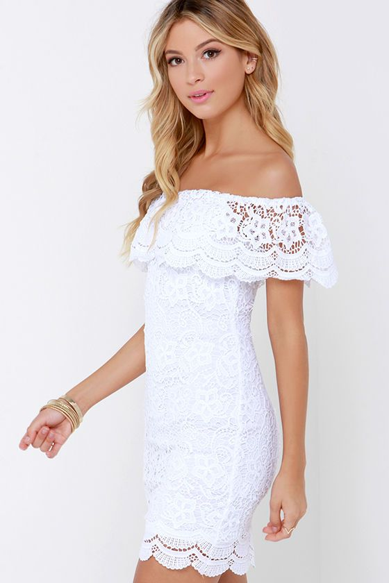 bc23783ef666 It s so sexy especially when the dress or top is something super feminine  like this white lace Islands in the Stream White Lace Off-the-Shoulder  Dress from ...