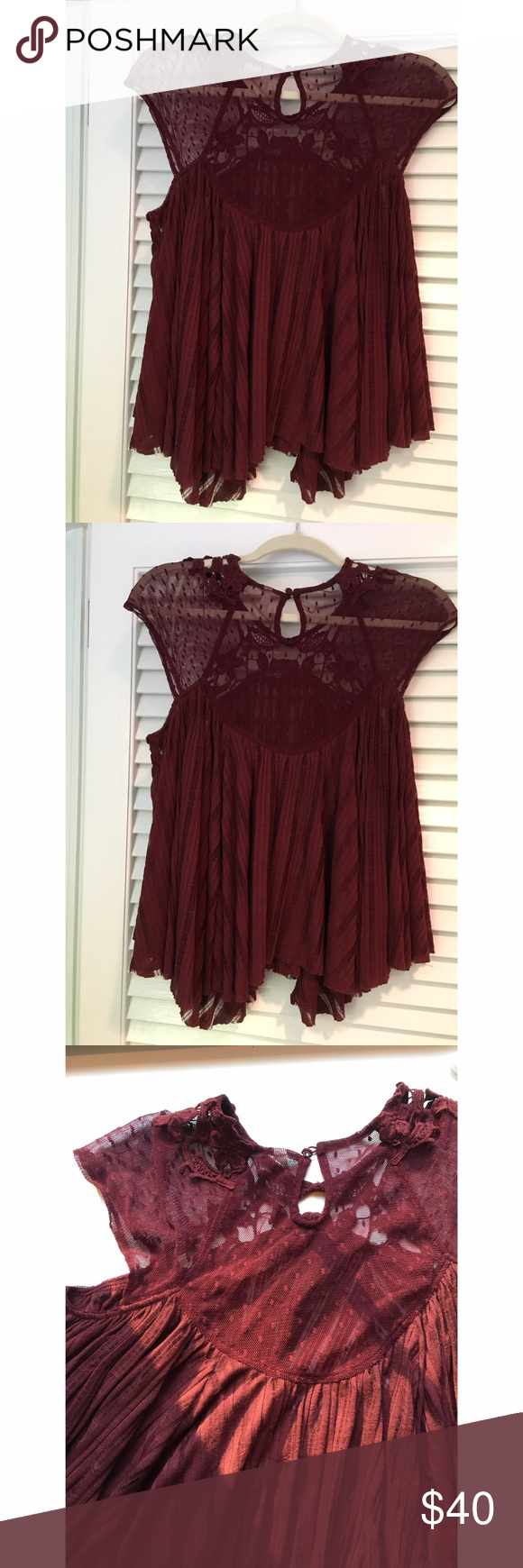 Free people lace blouse Burgundy lace blouse from free people. Beautiful lace detailing and floral embroidery. Keyhole back. In great condition and perfect for summer! Free People Tops Blouses