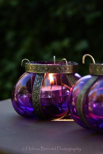 purple candle holders...so pretty!