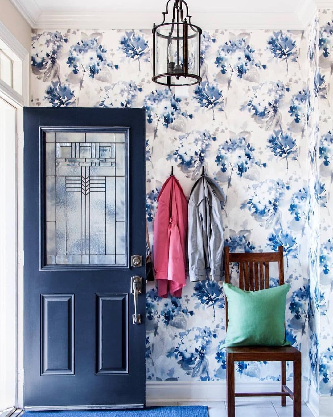 As Seen In Hgtv Magazine Front Door Painted Benjamin Moore Hale Navy Floral Wallpaper