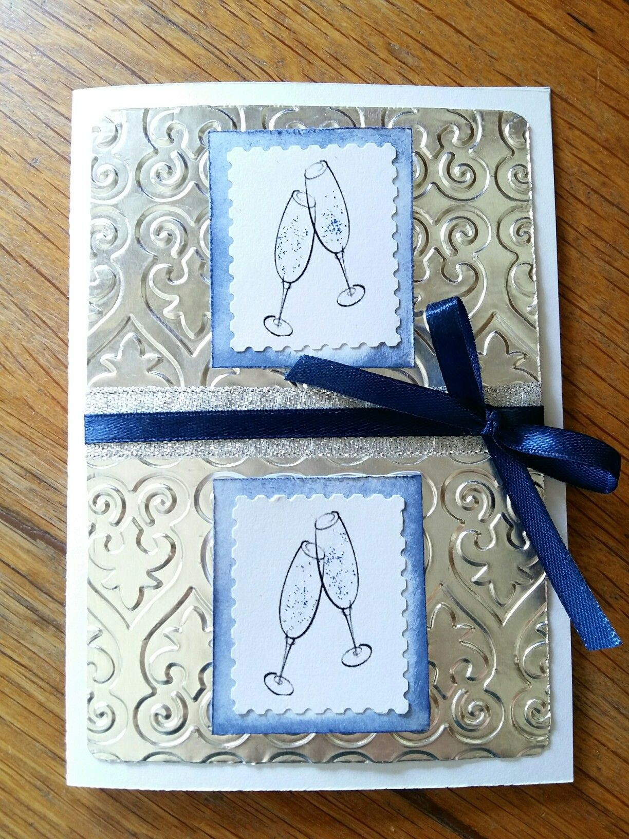 J Engagement card in navy, white and silver. Embossed foil ...