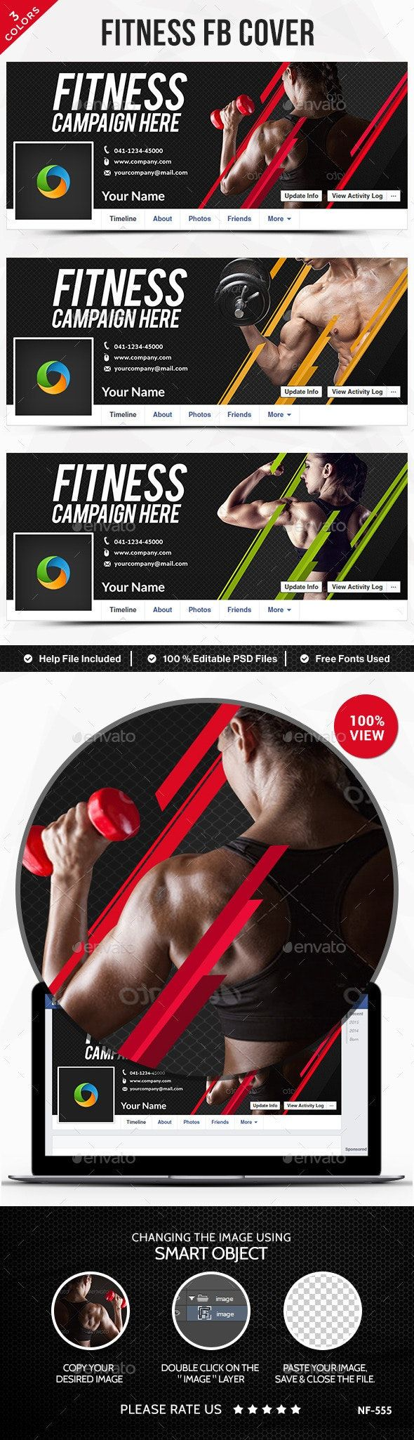 Fitness Facebook Covers - 3 Color Variations #Affiliate #Facebook, #ad, #Fitness, #Covers, #Variatio...