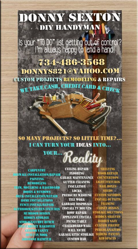 Donny Handyman Flyer  Donny Diy Handyman Projects