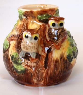 Porcelain owl bud vase hand crafted  One of a kind by AnitaReay, $45.00