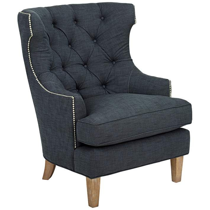 Wondrous Reese Studio Indigo High Back Accent Chair Dailytribune Chair Design For Home Dailytribuneorg
