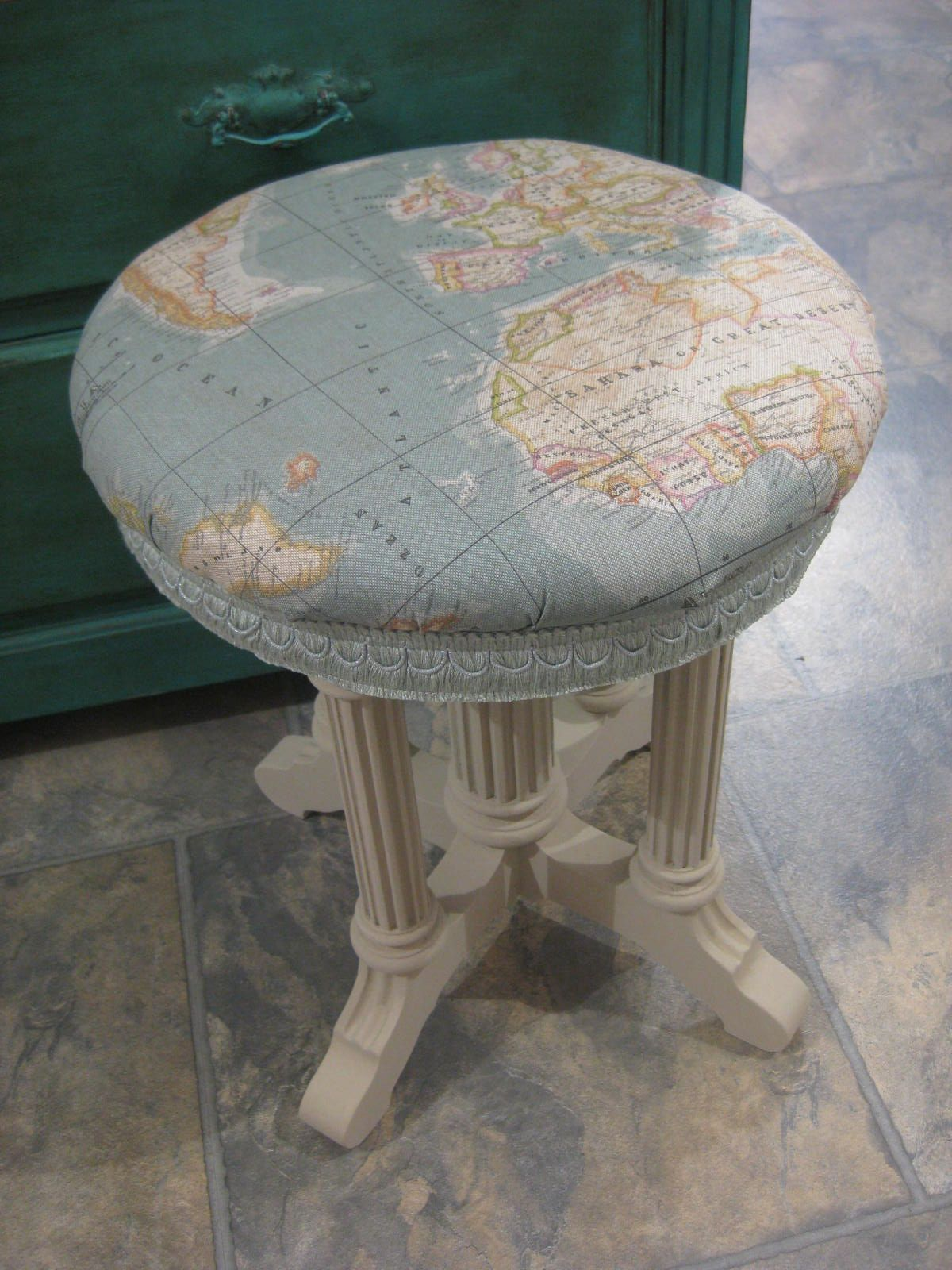 Piano stool covered in world map fabric by annie sloan stool piano stool covered in world map fabric by annie sloan gumiabroncs Image collections
