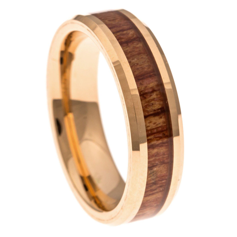 Men's Wedding Band, Rose Gold Hawaiian Koa Wood Inlay 6MM