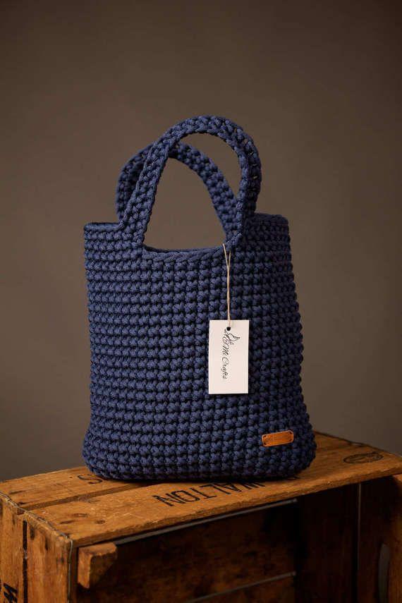 Bolsa cuerda hecho a mano bolso, bolso tejido, bolso de la verano ...