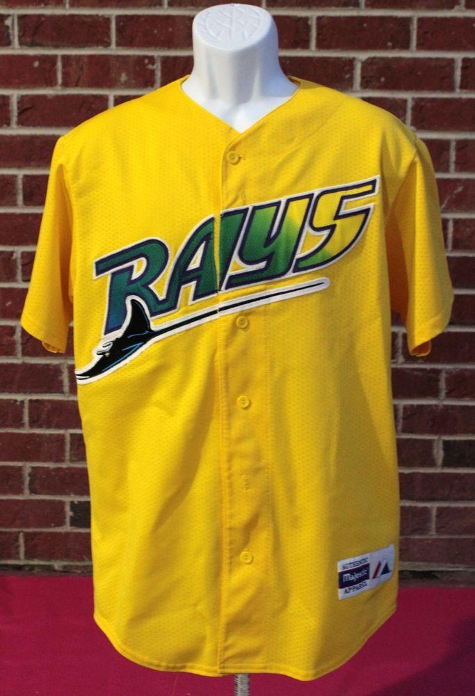 87670e12 MLB Majestic Tampa Bay Devil Rays Baseball Yellow BP Batting Practice Jersey  Sew ...