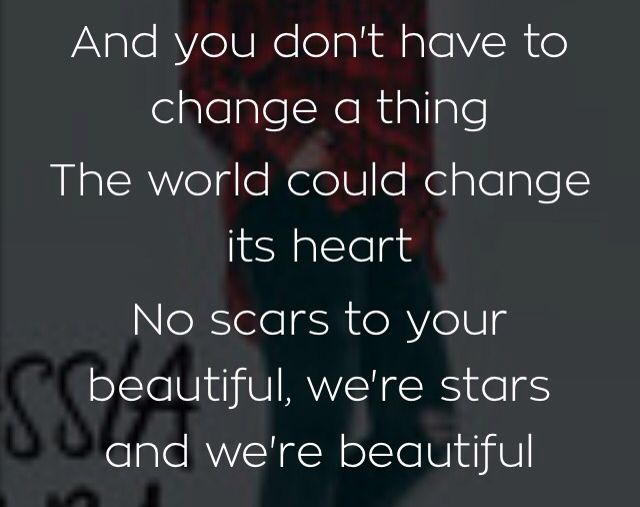 You don't have change a thing, because you're beautiful the way you are.